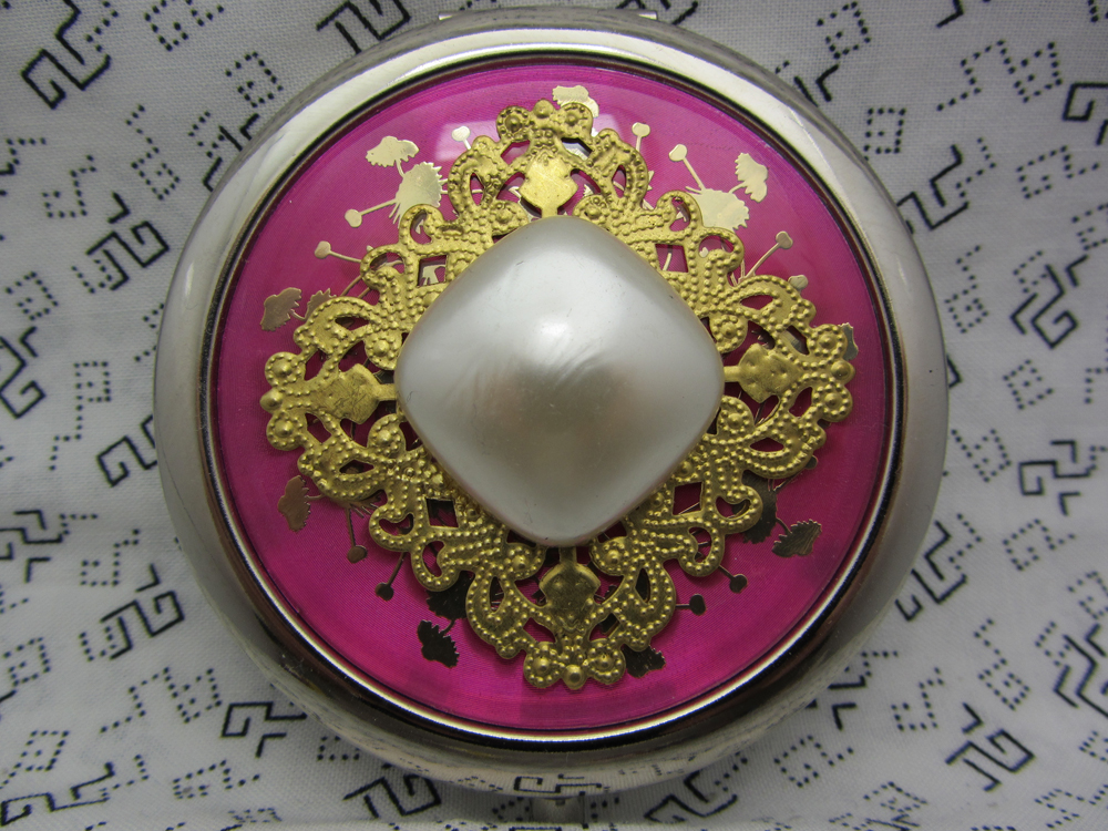 Hot Pink and Pearly White Compact Mirror