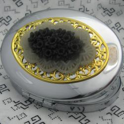 White and Black Floral Bouquet Compact Mirror