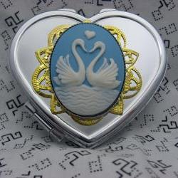 Sweetheart Swans Silver Heart Compact Mirror In Blue